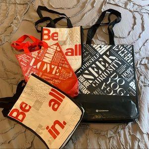 Lot of 4 Lululemon Reusable Shopping Bags